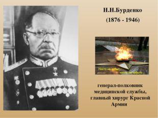 Н.Н.Бурденко (1876 - 1946) генерал-полковник медицинской службы, главный хиру