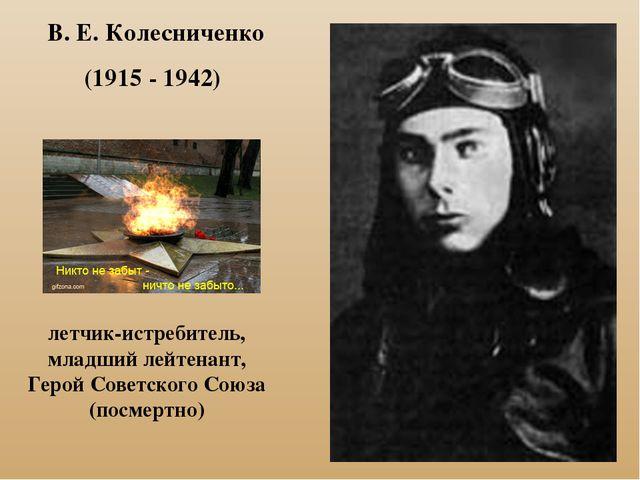 В. Е. Колесниченко (1915 - 1942) летчик-истребитель, младший лейтенант, Герой...