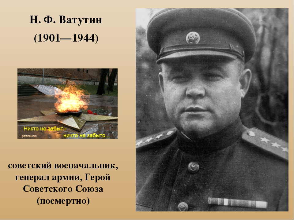 Н. Ф. Ватутин (1901—1944) советский военачальник, генерал армии, Герой Советс...