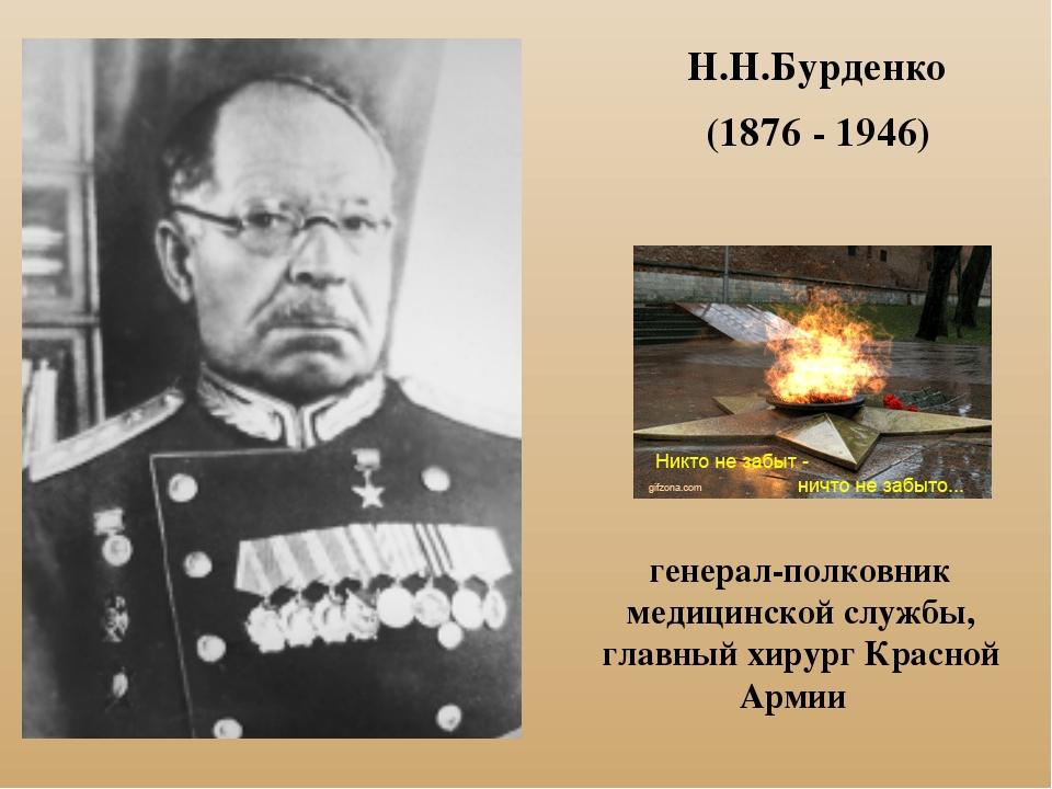 Н.Н.Бурденко (1876 - 1946) генерал-полковник медицинской службы, главный хиру...