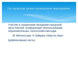 Участие в секционном заседании городской августовской конференции «Использова