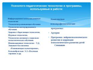 Психолого-педагогические технологии и программы, используемые в работе: Инфар