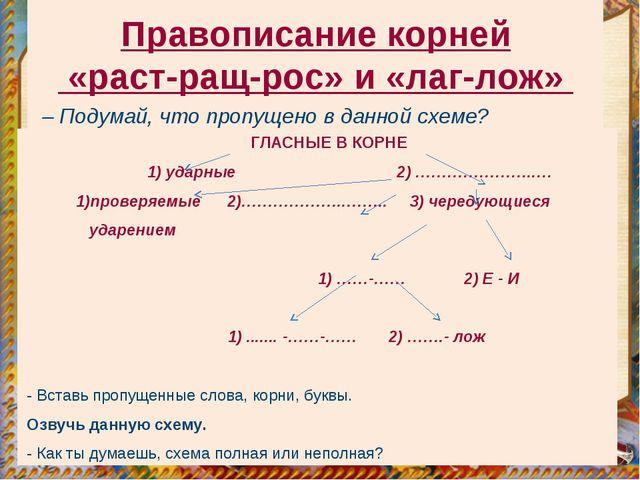 Правописание корней «раст-ращ-рос» и «лаг-лож» ГЛАСНЫЕ В КОРНЕ 1) ударные 2)...