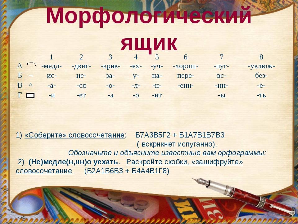 Морфологический ящик 1) «Соберите» словосочетание: Б7А3В5Г2 + Б1А7В1В7В3 ( вс...