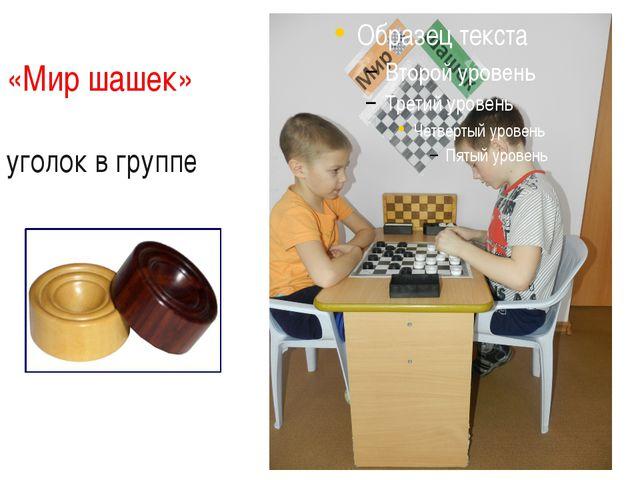 «Мир шашек»  уголок в группе