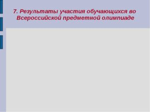 7. Результаты участия обучающихся во Всероссийской предметной олимпиаде