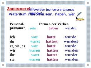 Запомните! Präteritum глаголов sein, haben, werden Hilfsverben (вспомогатель