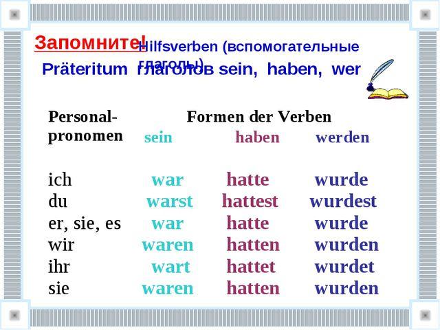 Запомните! Präteritum глаголов sein, haben, werden Hilfsverben (вспомогатель...