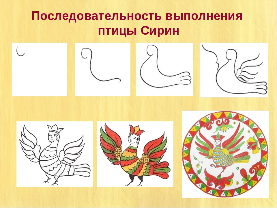 Последовательность выполнения птицы Сирин