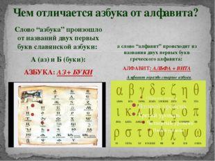 """Слово """"азбука"""" произошло от названий двух первых букв славянской азбуки: А (а"""