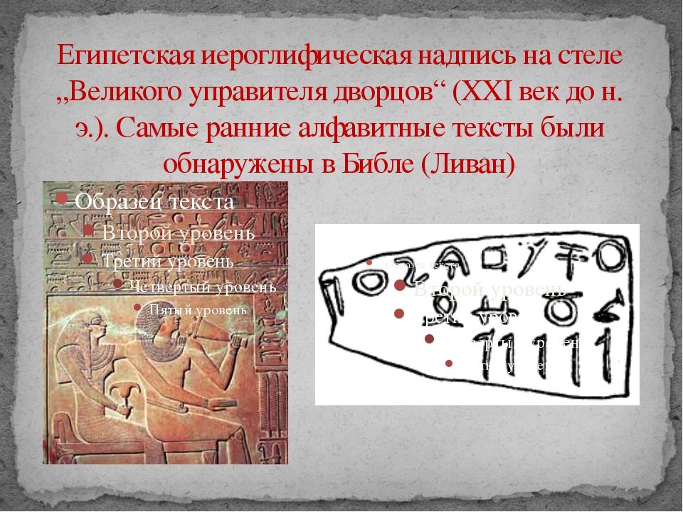 """Египетская иероглифическая надпись на стеле """"Великого управителя дворцов"""" (XX..."""