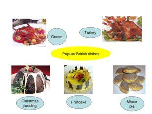 Goose Turkey Christmas pudding Fruitcake Mince pie Popular British dishes
