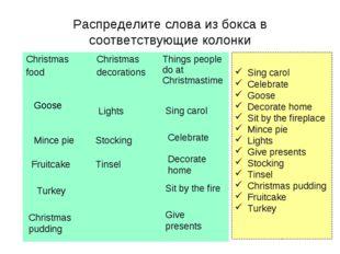 Распределите слова из бокса в соответствующие колонки Sing carol Celebrate Go