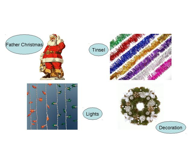 Father Christmas Tinsel Lights Decoration