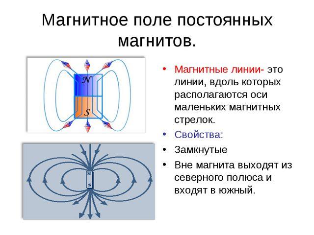 Магнитное поле постоянных магнитов. Магнитные линии- это линии, вдоль которых...