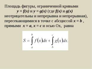 Площадь фигуры, ограниченной кривыми y = f(x) и y = g(x) (где f(x) и g(x) нео