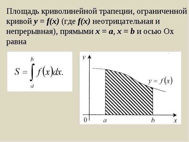 Площадь криволинейной трапеции, ограниченной кривой y = f(x) (где f(x) неотри...