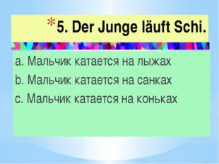 5. Der Junge läuft Schi. a. Мальчик катается на лыжах b. Мальчик катается на