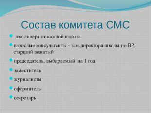 Состав комитета СМС два лидера от каждой школы взрослые консультанты - зам.ди