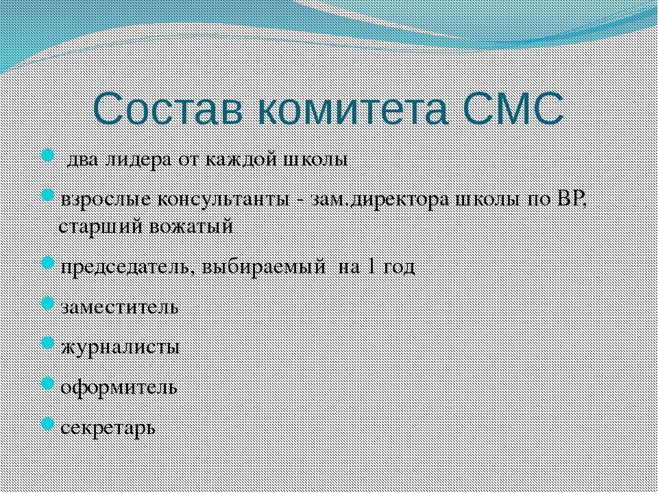 Состав комитета СМС два лидера от каждой школы взрослые консультанты - зам.ди...