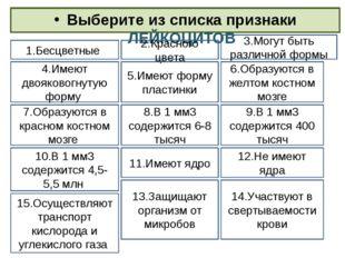 Выберите из списка признаки ЛЕЙКОЦИТОВ 1.Бесцветные 3.Могут быть различной фо