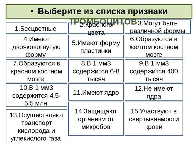 Выберите из списка признаки ТРОМБОЦИТОВ 1.Бесцветные 3.Могут быть различной ф...