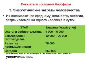 Показатели состояния биосферы 3. Энергетические затраты человечества Их оцени