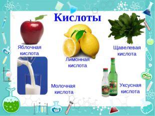 Кислоты Яблочная кислота Лимонная кислота Щавелевая кислота Молочная кислота