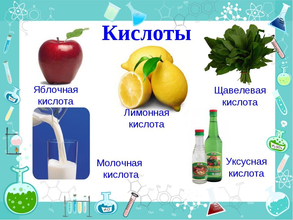 Кислоты Яблочная кислота Лимонная кислота Щавелевая кислота Молочная кислота...