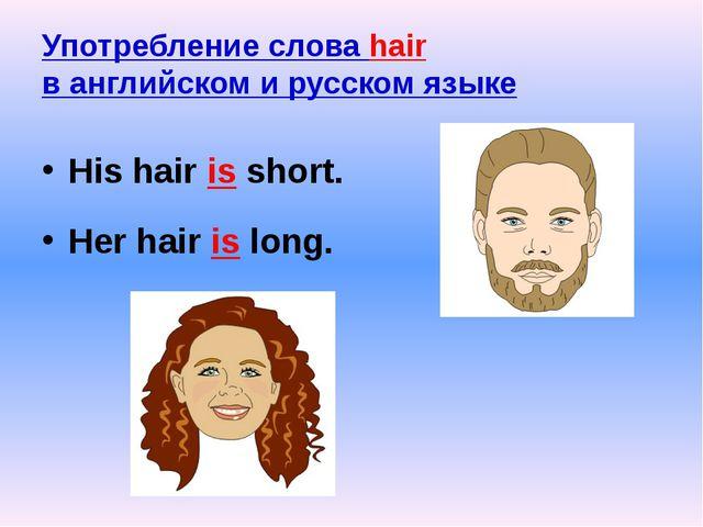 Употребление слова hair в английском и русском языке His hair is short. Her h...