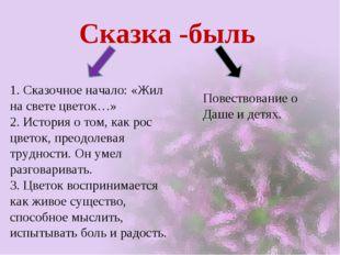 Сказка -быль 1. Сказочное начало: «Жил на свете цветок…» 2. История о том, ка