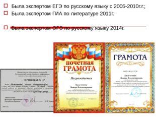 Была экспертом ЕГЭ по русскому языку с 2005-2010г.г.; Была экспертом ГИА по л