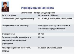 Информационная карта БальчиноваВенера Владимировна Дата рождения 08 февраля 1
