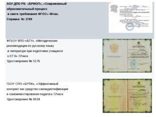 АОУ ДПО РБ «БРИОП», «Современный образовательныйпроцесс в свете требования Ф