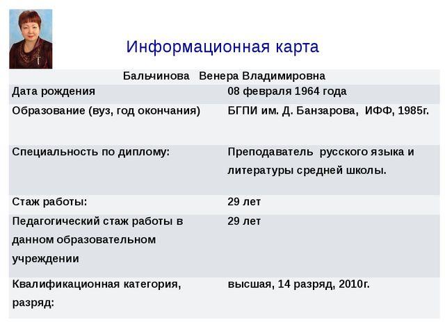 Информационная карта БальчиноваВенера Владимировна Дата рождения 08 февраля 1...