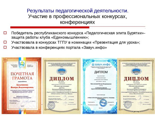 Результаты педагогической деятельности. Участие в профессиональных конкурсах,...