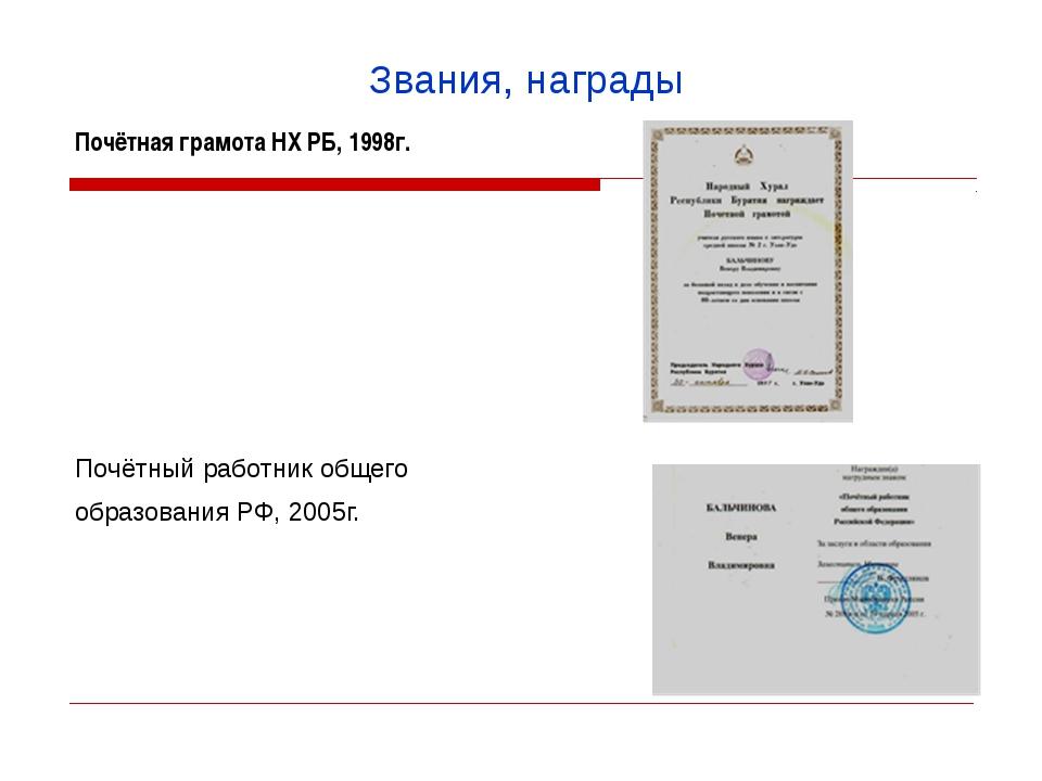 Звания, награды Почётнаяграмота НХ РБ, 1998г.   Почётный работник общего об...
