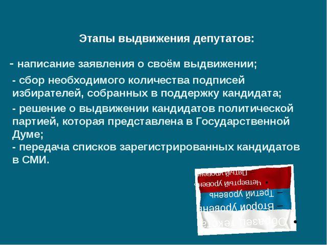 Этапы выдвижения депутатов: - написание заявления о своём выдвижении; - сбор...