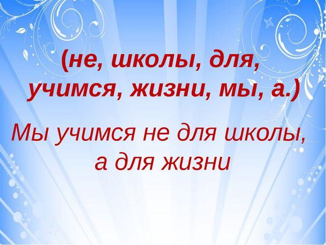 (не, школы, для, учимся, жизни, мы, а.) Мы учимся не для школы, а для жизни