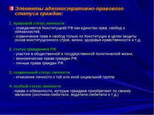 Элементы административно-правового статуса граждан: 1. правовой статус личнос