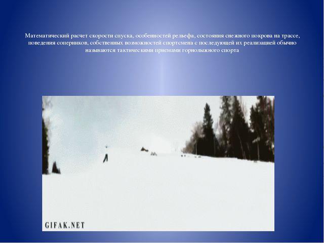 Математический расчет скорости спуска, особенностей рельефа, состояния снежно...