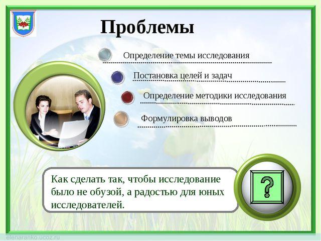 Проблемы Презентация результатов Определение темы исследования Постановка цел...