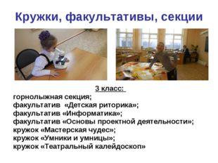 Кружки, факультативы, секции 3 класс: горнолыжная секция; факультатив «Детска