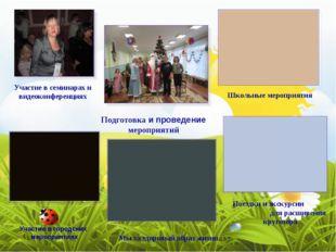 Участие в семинарах и видеоконференциях Школьные мероприятия Подготовка и про