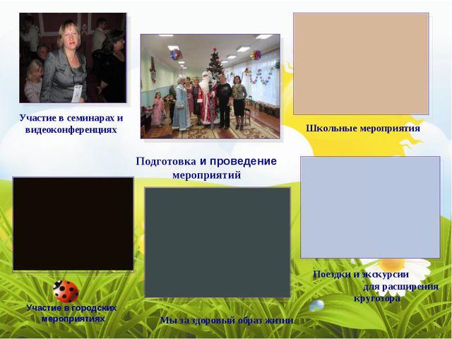 Участие в семинарах и видеоконференциях Школьные мероприятия Подготовка и про...