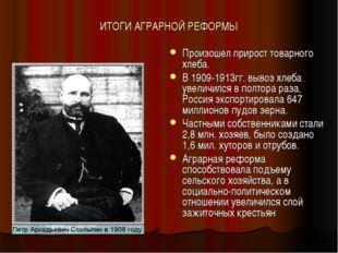 ИТОГИ АГРАРНОЙ РЕФОРМЫ Произошел прирост товарного хлеба. В 1909-1913гг. выво