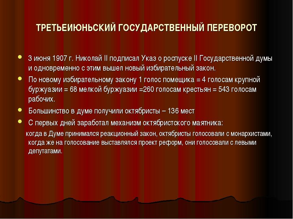 ТРЕТЬЕИЮНЬСКИЙ ГОСУДАРСТВЕННЫЙ ПЕРЕВОРОТ 3 июня 1907 г. Николай II подписал У...