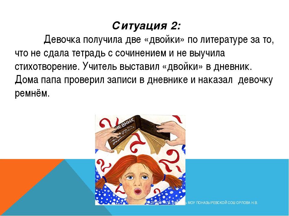 Ситуация 2: Девочка получила две «двойки» по литературе за то, что не сдала...