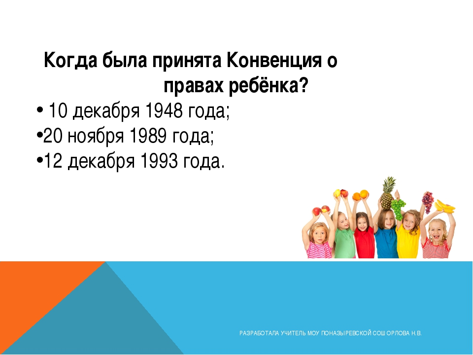 Когда была принята Конвенция о правах ребёнка? 10 декабря 1948 года; 20 ноябр...