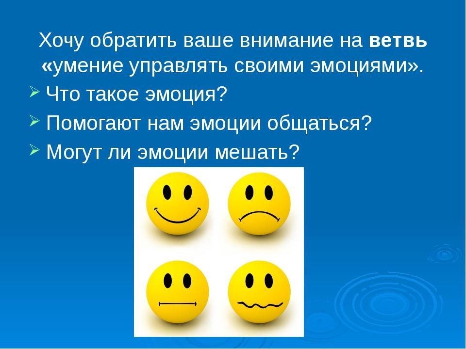Хочу обратить ваше внимание на ветвь «умение управлять своими эмоциями». Что...